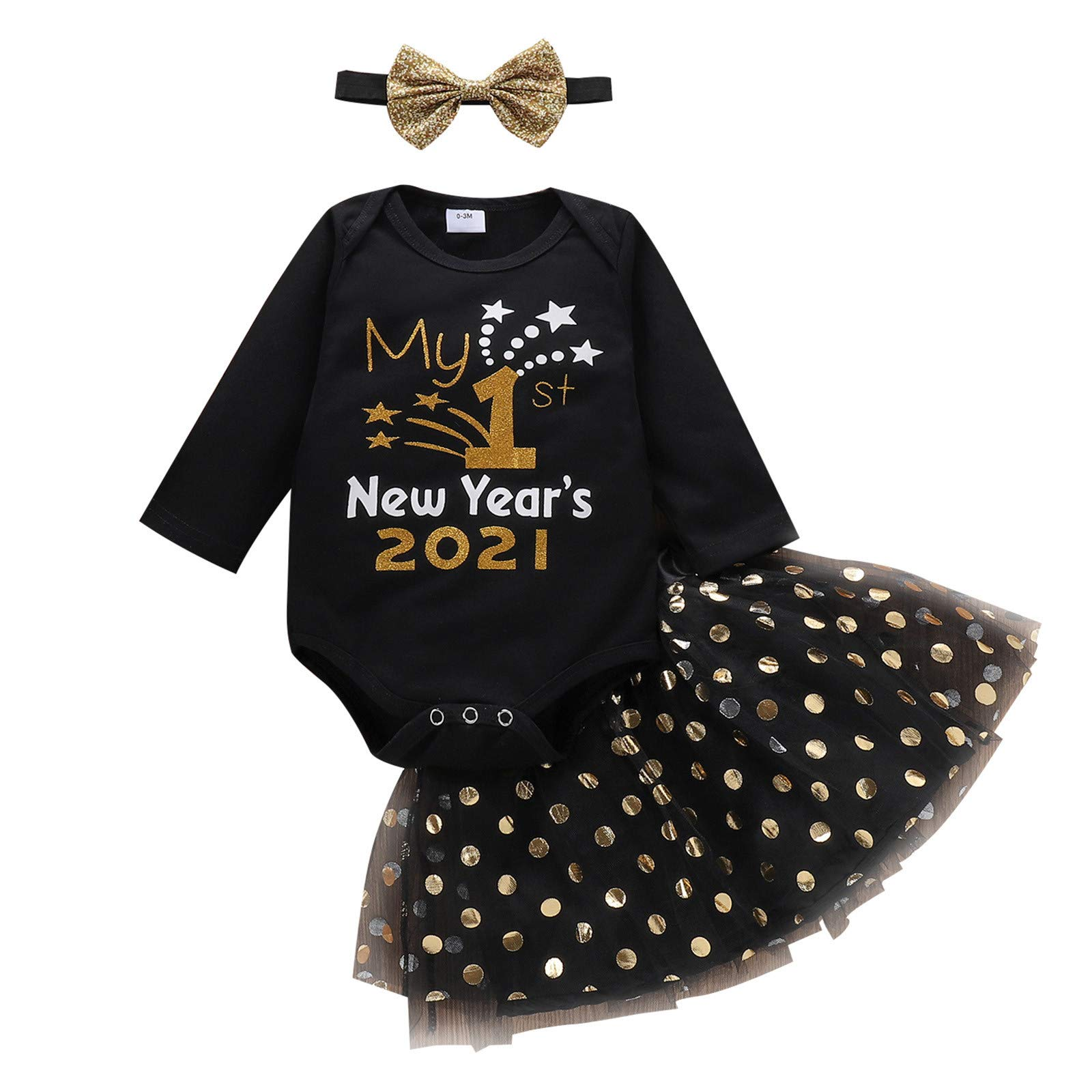Infant Baby Girls Romper Print My 1st New Year's 2021 Outfit Tutu Skirt Jumpsuit