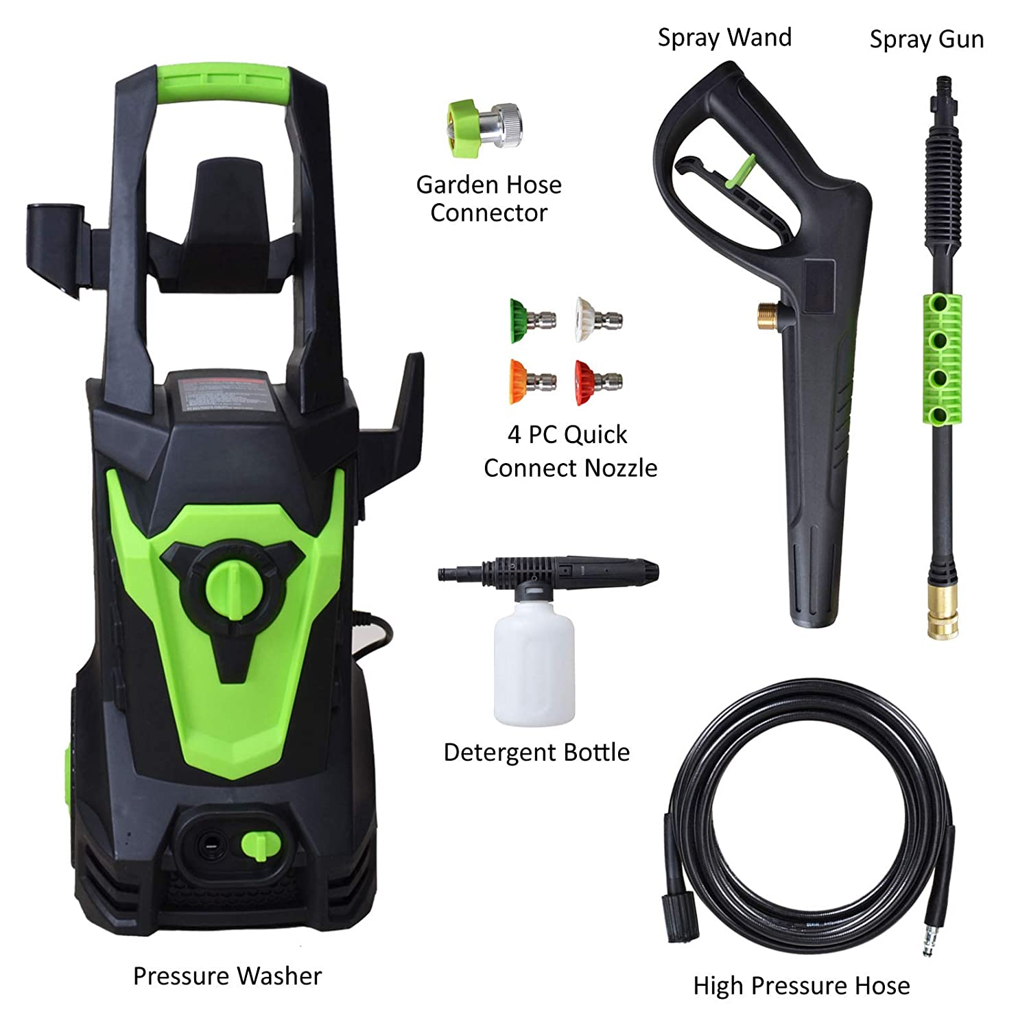 High Power Cleaner with Copper Garden Hose Connector Indigano 3800PSI 2.6GPM Electric Pressure Washer with 4 Spray Tips Washing Machine with Heating Protector