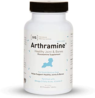 product image for International Veterinary Sciences IVS Arthramine Healthy Joints Glucosamine Supplement with Fish Oil and Vitamin C, Made in The USA