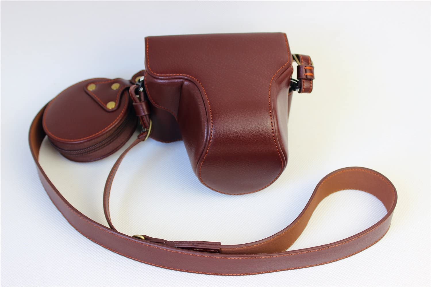Black BolinUS Handmade Genuine Real Leather Fullbody Camera Case Bag Cover for Olympus Pen-F Bottom Opening Version with Neck Strap Olympus Pen-F Case