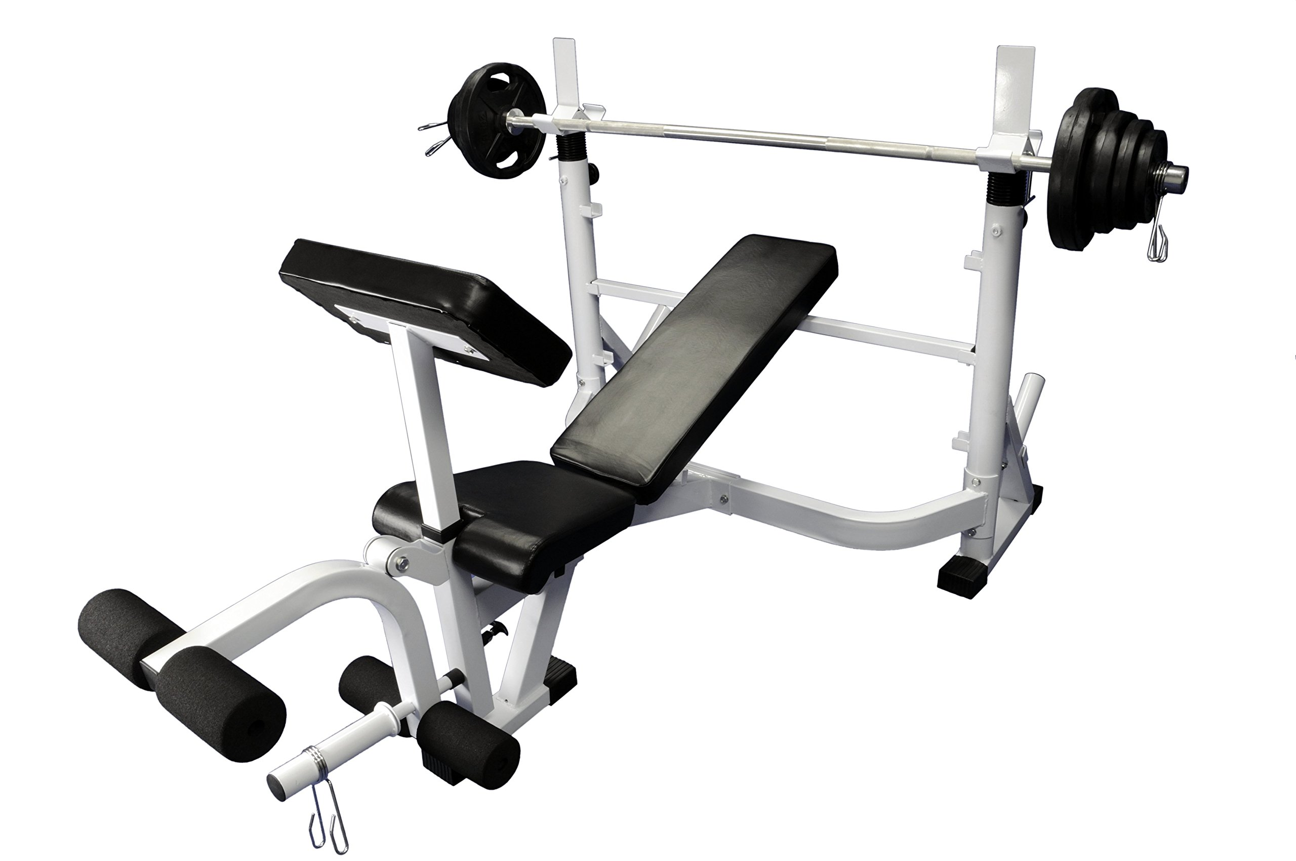 Ader Sporting Goods Heavy Duty Olympic Universal White Bench w/ 300 Lbs Weight Grey Olympic Set by Ader Sporting Goods