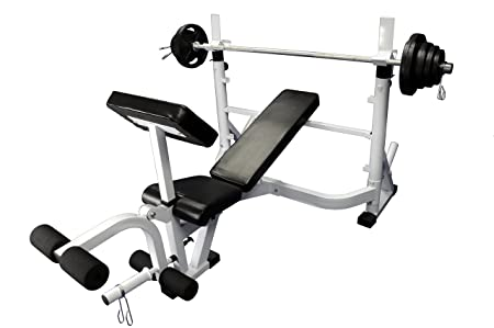 Ader Sporting Goods Heavy Duty Olympic Universal White Bench w 300 Lbs Weight Grey Olympic Set