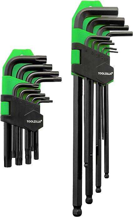 Chiavini in acciaio torx set 9 pezzi da T10 a T50 professionale con custodia
