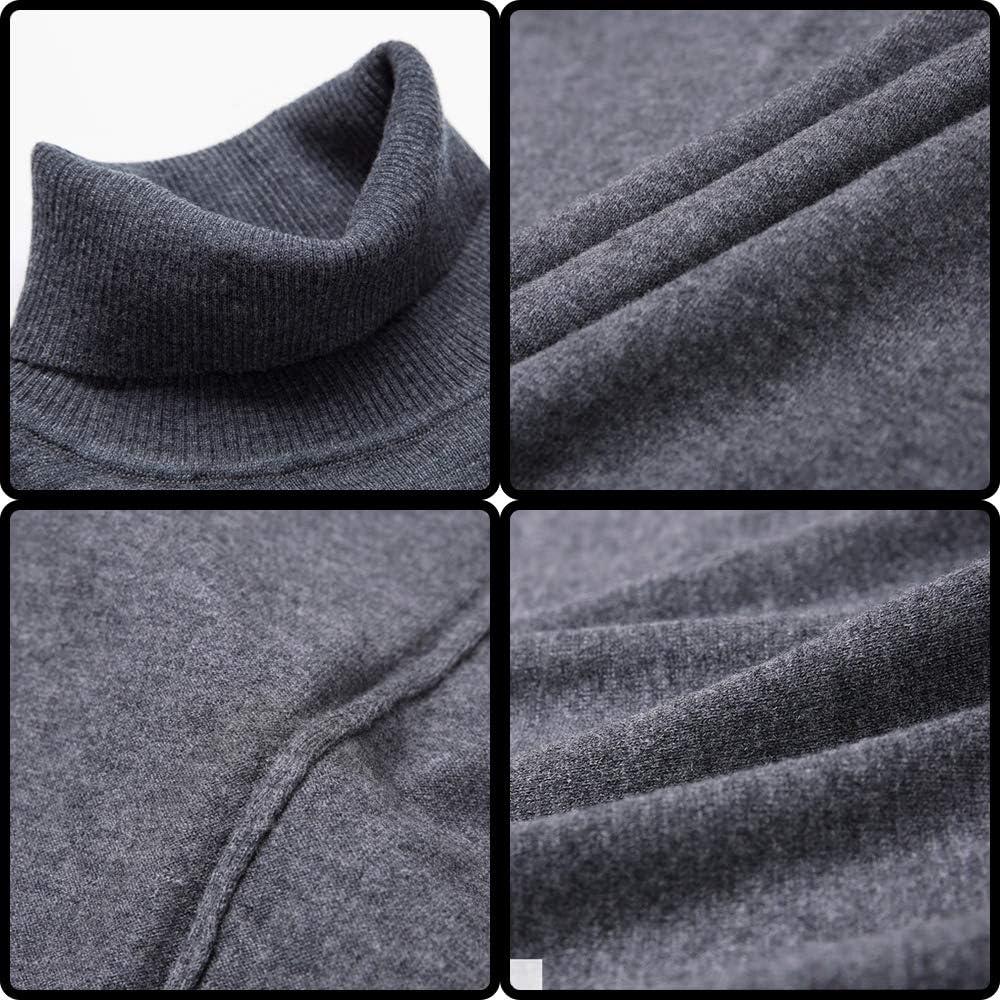 IYSI Uomo Autunno Inverno Manica Lunga Collo Alto Maglione Tinta Unita Slim Fit Classico Pullover in Pura Lana 100% Casuale Maglia Pullover Tops ricecamel