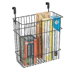 mDesign Metal Wire Hanging Over Door Kitchen Storage Organizer Basket/Trash Can - Hangs Over Cabinet Doors - for Bags, Tin Foil, Wax Paper, Saran Wrap - Solid Steel - Matte Black