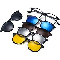 JIM HALO Magnético 5 Piezas Polarizadas Clip en Gafas de Sol Marco Plástico Para Conducción Nocturna