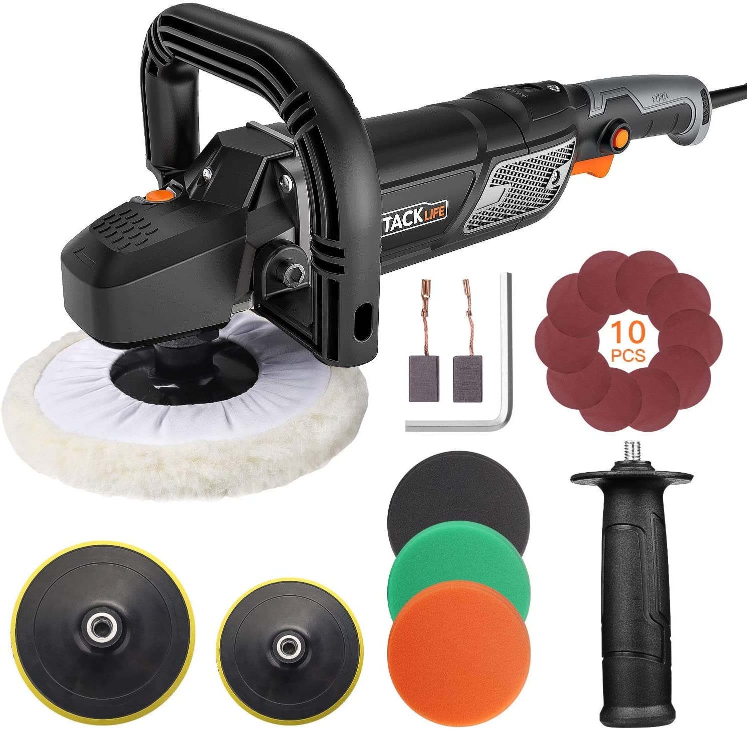 TACKLIFE Polisher, 12.5Amp 1500W Variable Speed Buffer Polisher, 7-Inch 6-Inch Polishing Plate with Digital Screen, Lock Switch, Detachable Handle, Ideal For Car Sanding, Polishing, Waxing – PPGJ01A