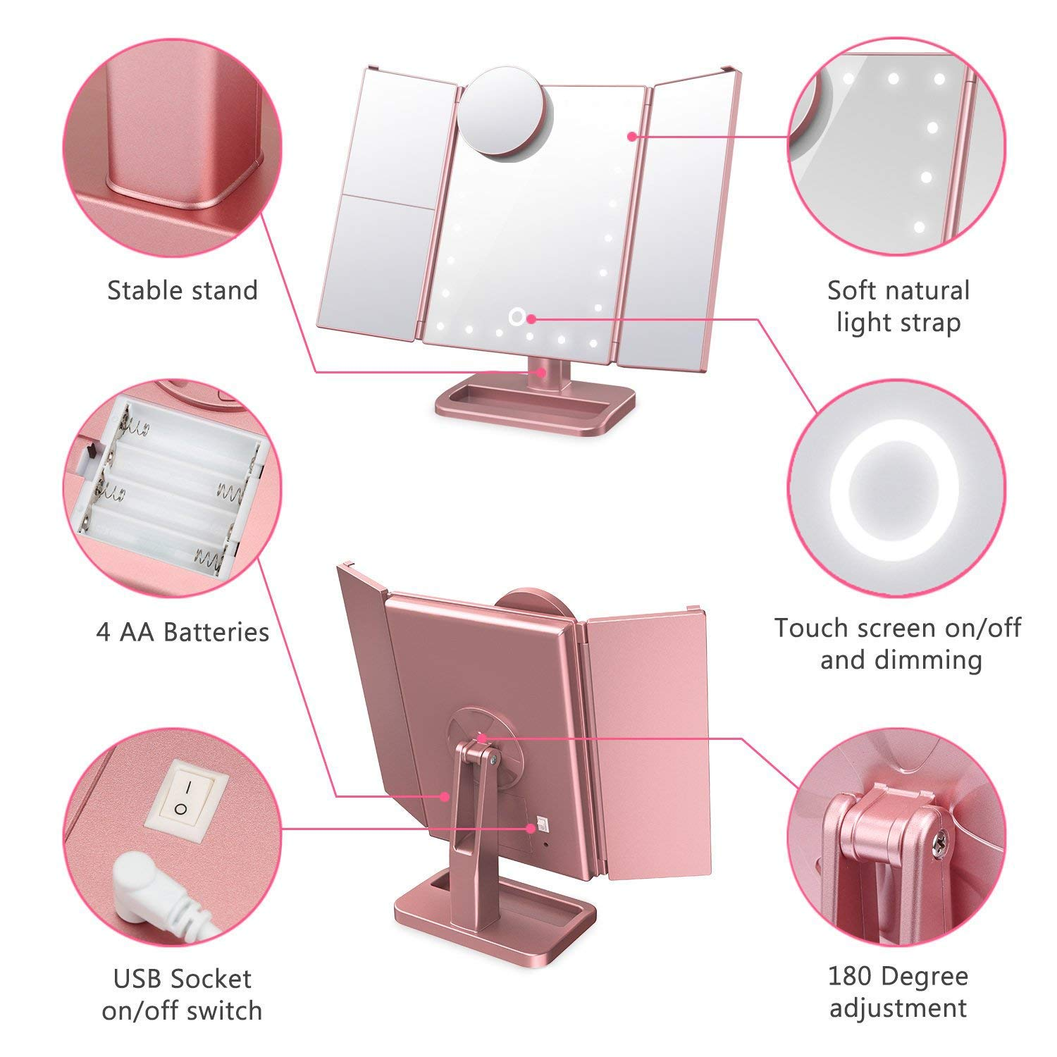 Hansong Lighted Vanity Mirror with 24 Lights, Tri-fold Illuminated Cosmetic Mirror with 1x/2x/3x/10x Magnification, LED Light Up Makeup Mirror with Touch Screen (Rose Gold)