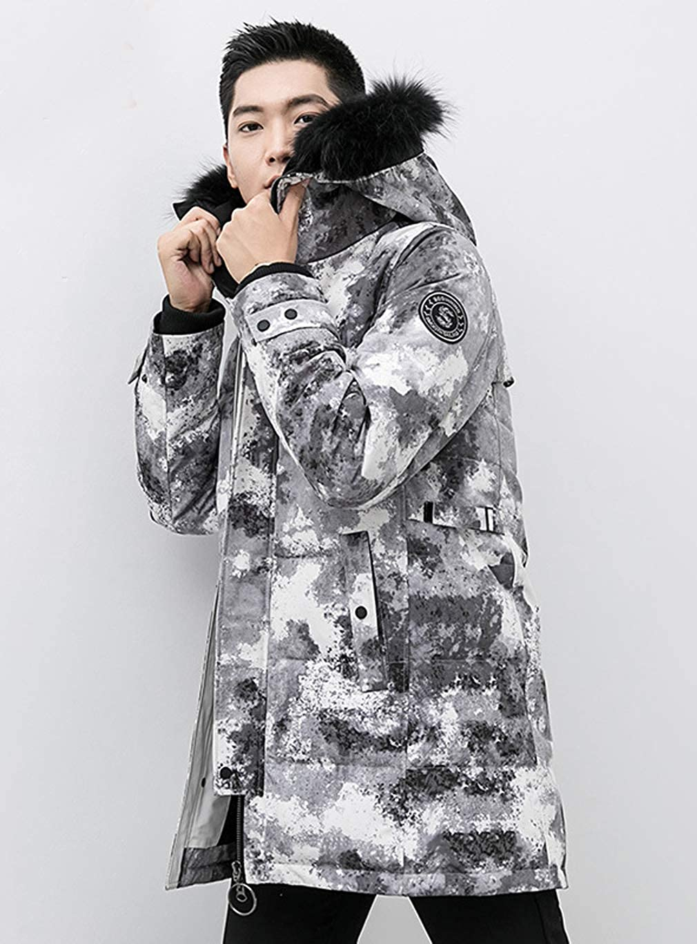 UB-YALU Men DownCoat Hooded Camouflage Padded Jacket Parkas Outwear