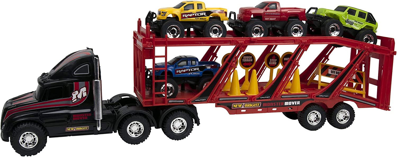 New Bright 22 Big Foot Car Carrier with 4 Trucks and Accessories 1345 Model Number