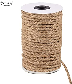 packaging bundling gardening arts and crafts HOMYHOME jute rope 8 MM natural jute burlap twine string hessian rope cord craft for Industrial and home 32 Feet gifts decoration