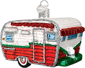 Old World Christmas Camping Outdoor Collection Glass Blown Ornaments for Christmas Tree, RV, Red/Green/White