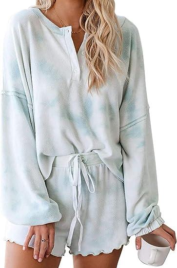 CANIKAT - Conjunto de pijama para mujer, con estampado de ...