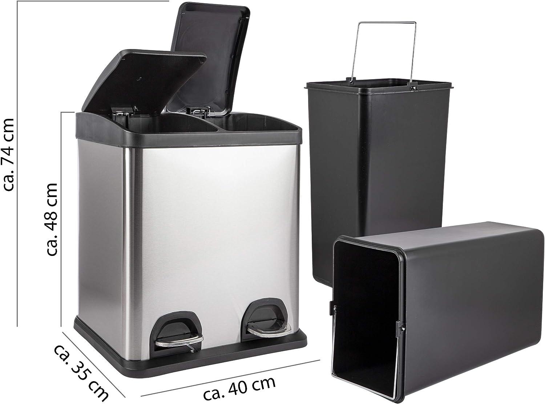 Duo Abfalleimer in Silber /& schwarz 30L M/ülltrennsystem f/ür die K/üche M/üllbeh/älter 2X 15L ONVAYA/® Doppel Tretm/ülleimer Edelstahl