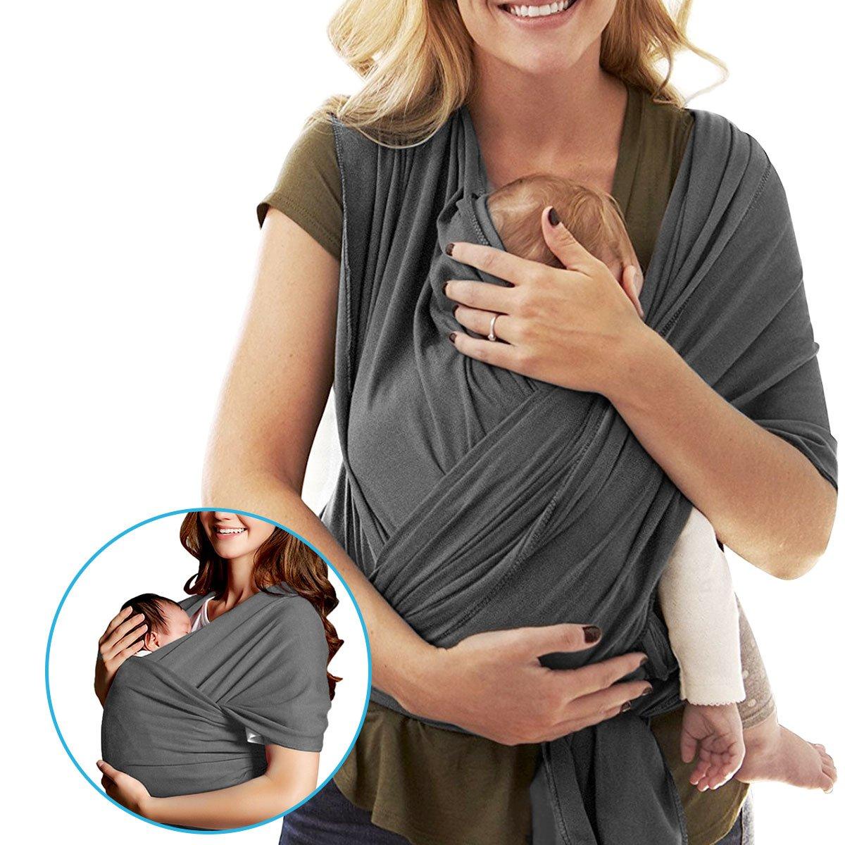 LegendTech Farbe Grau Babytragetuch - Babytragetasche - Baby Carrier Sling - Babytragetuch Neugeborene - Ergonomische Babytrage - 100% Bio-Baumwolle - Elastisches Tragetuch für Früh