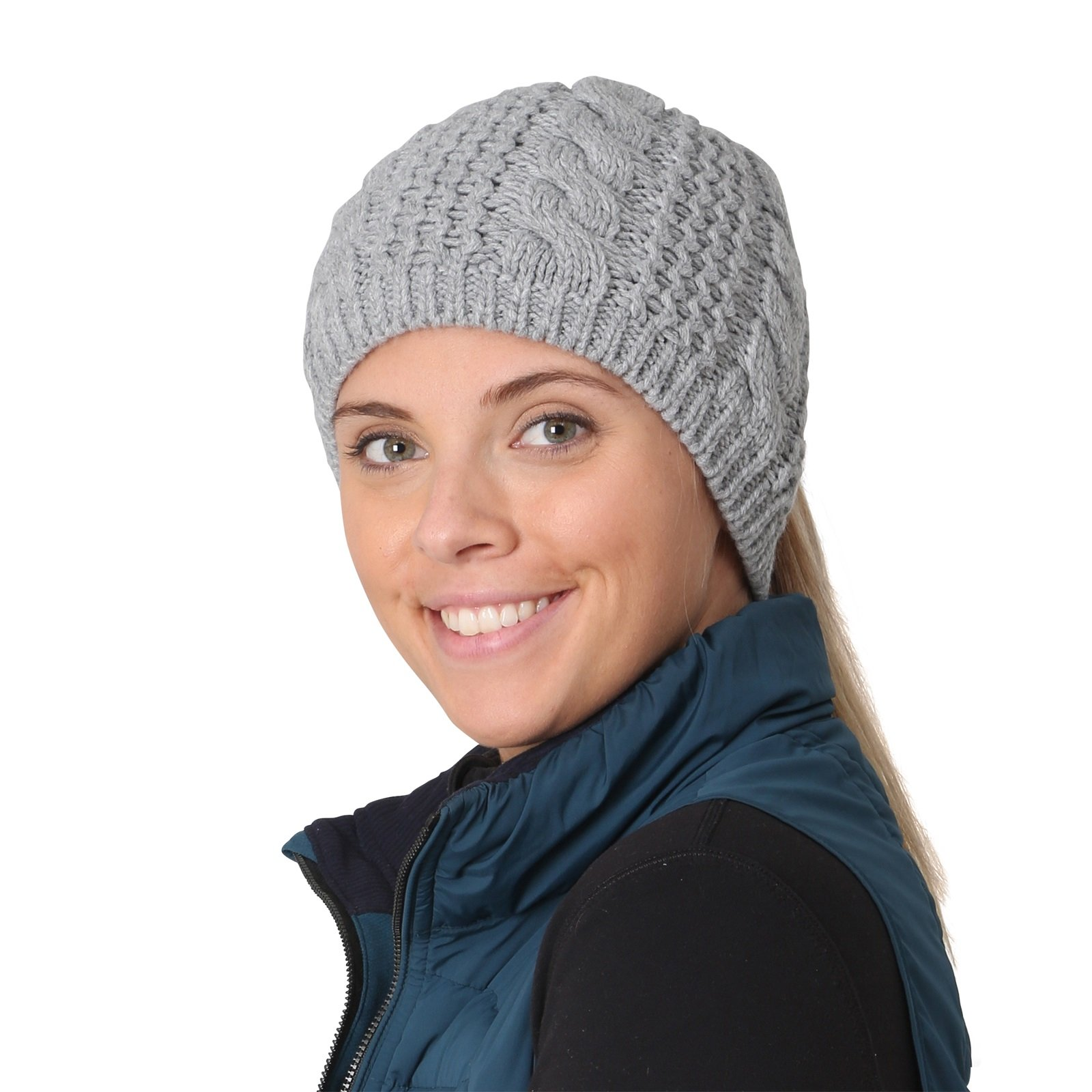TrailHeads Women's Cable Knit Ponytail Beanie - storm grey
