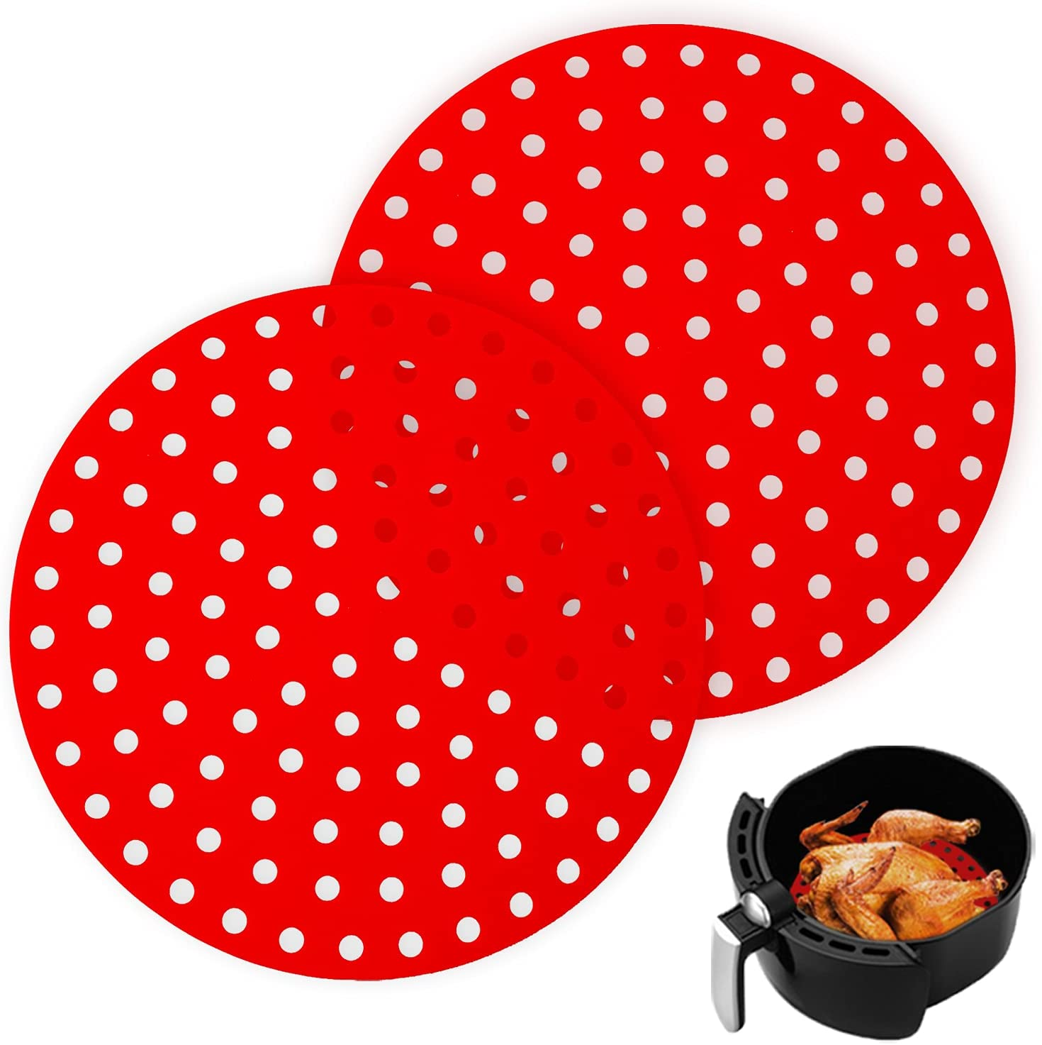 Air Fryer Liners, Set of Two,9-Inch Air Fryer Liners Round, Flexible Air Fryer Accessories, Red Reusable Non-Stick Silicone Air Fryer Mats, Easy to Clean, Perforated Design for Maximum Air Flow