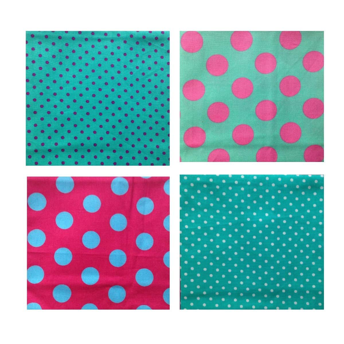 Unique Boutique - Vier gepunktete Stofftaschentü cher Herren Damen pink tü rkis grü n Taschentuch groß e kleine Punkte