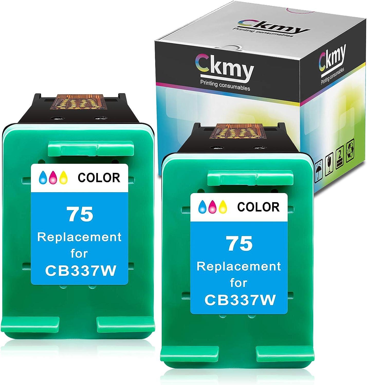 CKMY Remanufactured 75XL Ink Cartridge Replacement for HP 75 Twin Color Used for HP PhotoSmart C4280 C5280 C4480 C4250 C5550 C4400 C4580 C4200 DeskJet D4360 D4260 OfficeJet J5780 Printer (2 Tri-Color)