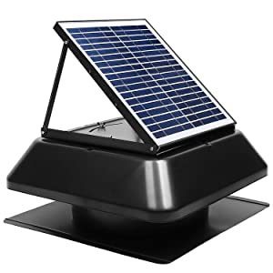 GBGS Solar Attic Fan 1750 CFM, IP68 Brushless DC Motor, Adjustable Panel, 14 inches 7 Fan Blades, 40db, Double Rust Free Anti-Aging, Easy Install, Size 23.6X23.6X9.8 in, 29 lb/Unit