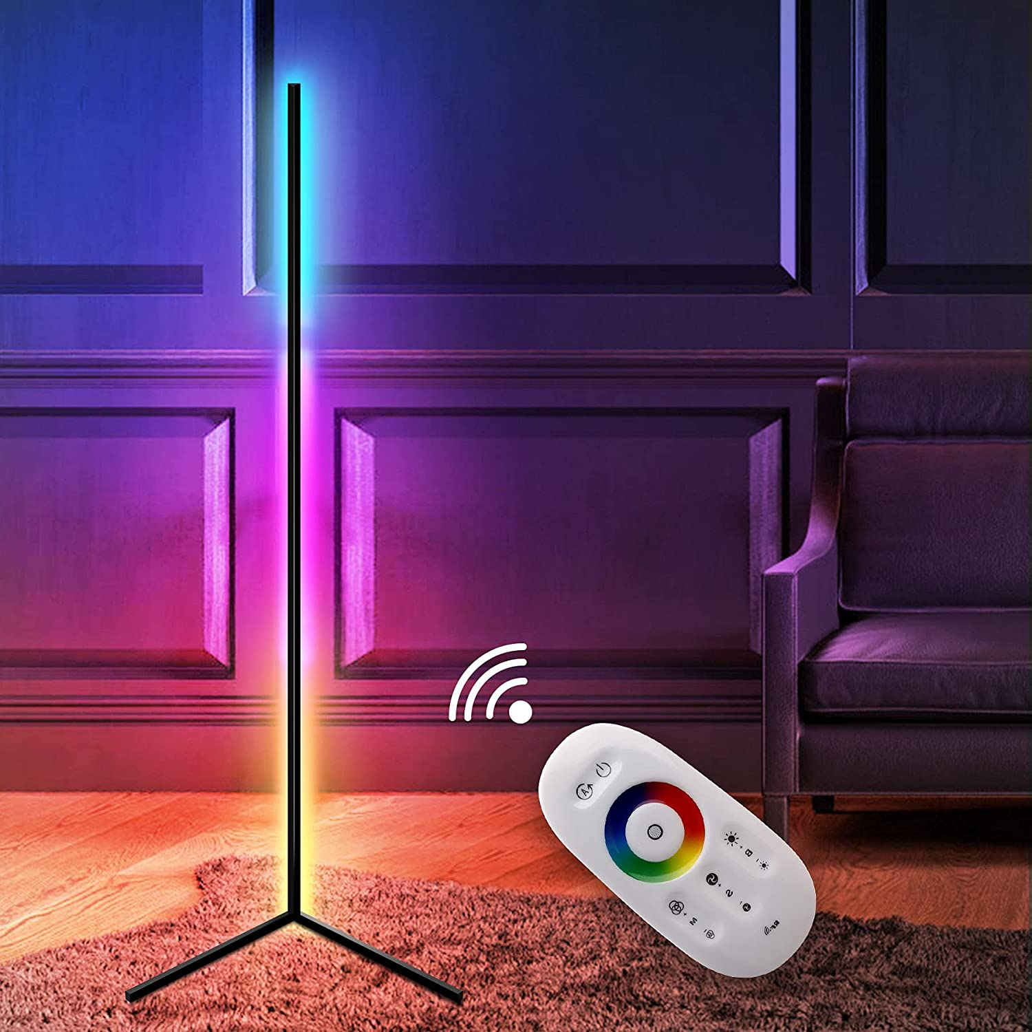 Corner Floor Lamp-RGB Standing Lamp Nordic Decorations for Living Room, LED Dimmable Color Changing Mood Lighting Decor Floor Light for Bedroom with Remote Control
