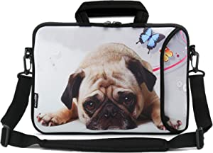 RICHEN 11 11.6 12 12.5 13 inches Case Laptop/Chromebook/Ultrabook/Notebook PC Messenger Bag Tablet Travel Case Neoprene Handle Sleeve with Shoulder Strap (11-13.3 inch, Cute Pug)