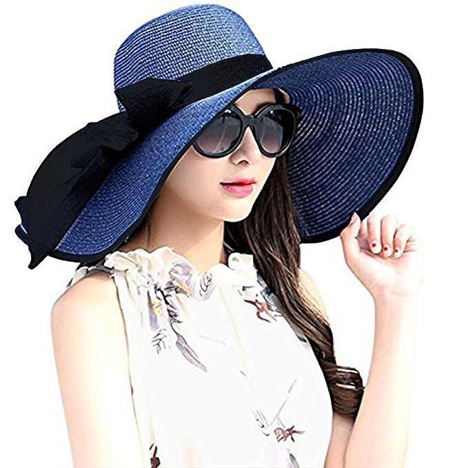 DRESHOW Sombrero de playa Floppy para mujer Sombrero de paja de ala ancha  Sun Roll Roll Upable UPF 50+  Amazon.es  Ropa y accesorios 179253e5279