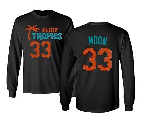e3288aa354e Flint Tropics Jackie Moon 33 Semi Pro Basketball Men s Long Sleeve T Shirt  (Black