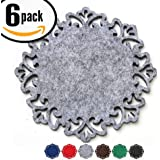 Dulce Cocina Drink Absorbent Coasters, A Unique Fancy Home Decor Both Eye Catching & Functional, Set of 6 Large 4.5 inch Size Felt In Grey