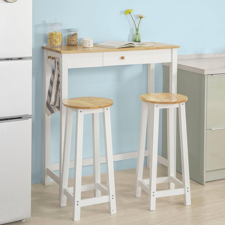 sobuy fwt50 wn bartisch set 3 teilig stehtisch mit 3 haken und einer schublade bistrotisch. Black Bedroom Furniture Sets. Home Design Ideas