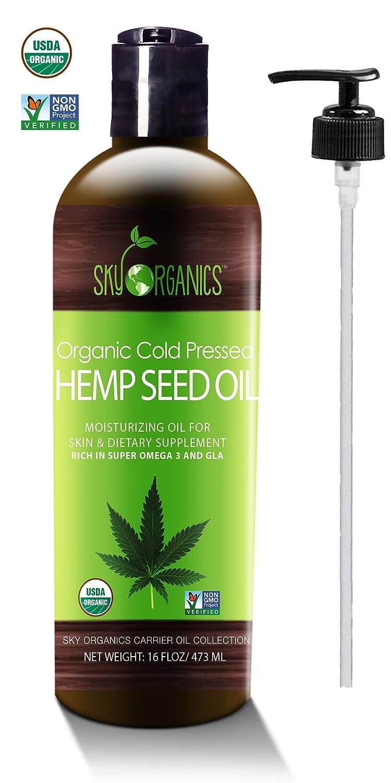 Organic Hemp Seed Oil by Sky Organics (16oz) 100% Pure Cold-Pressed Hemp  Oil –High in Omega 3-6-9 Fatty Acids- Not CBD oil- Sativa Oil- Food grade,