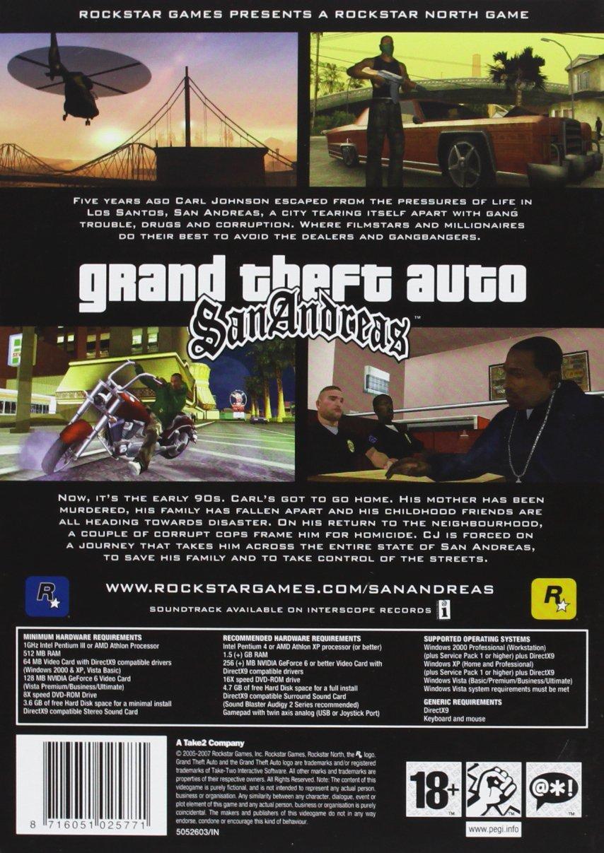 Grand Theft Auto GTA San Andreas Game PC: Amazon co uk: PC
