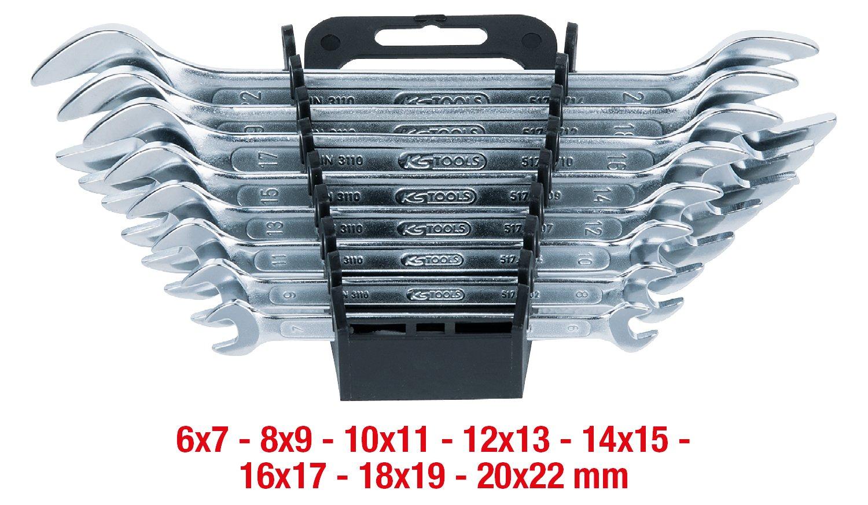 Bocas pulidas Set de 8 Piezas KS Tools 517.0148 Pack Llaves de Boca Doble en Caja de cart/ón tama/ño: 6 x 7-20 x 22 mm