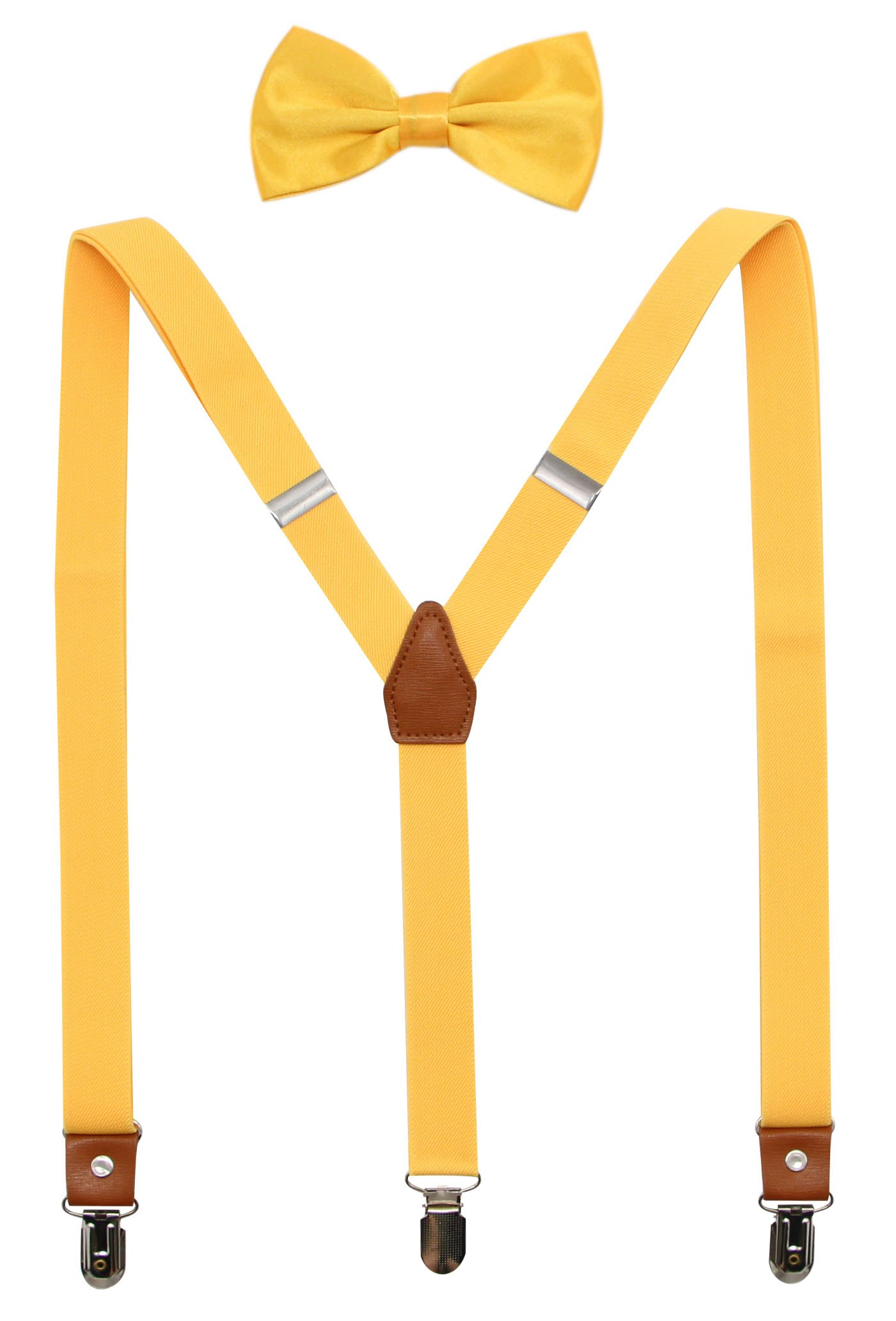 Suspenders And Pre-Tied Bowtie Set For Boys And Men By JAIFEI, Casual And Formal (Men(47 inches), Yellow)