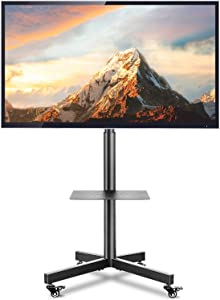 TVON Mobile TV Cart/Stand for 23-60 inch Flat Screen or Curved TVs   Portable Rolling Floor TV Stand with Lockable Wheels&Height Adjustable Laptop Shelf, Holds up to 88 lbs Max VESA 400x400mm