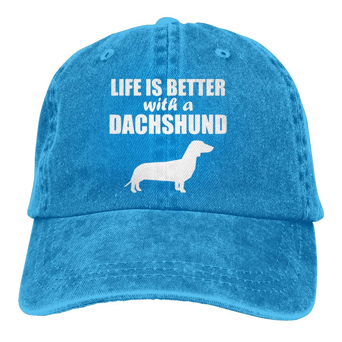 PMGM-C Life is Better with A Dachshund Adult Trendy Denim Hip Hop Cap Adjustable Baseball Cap