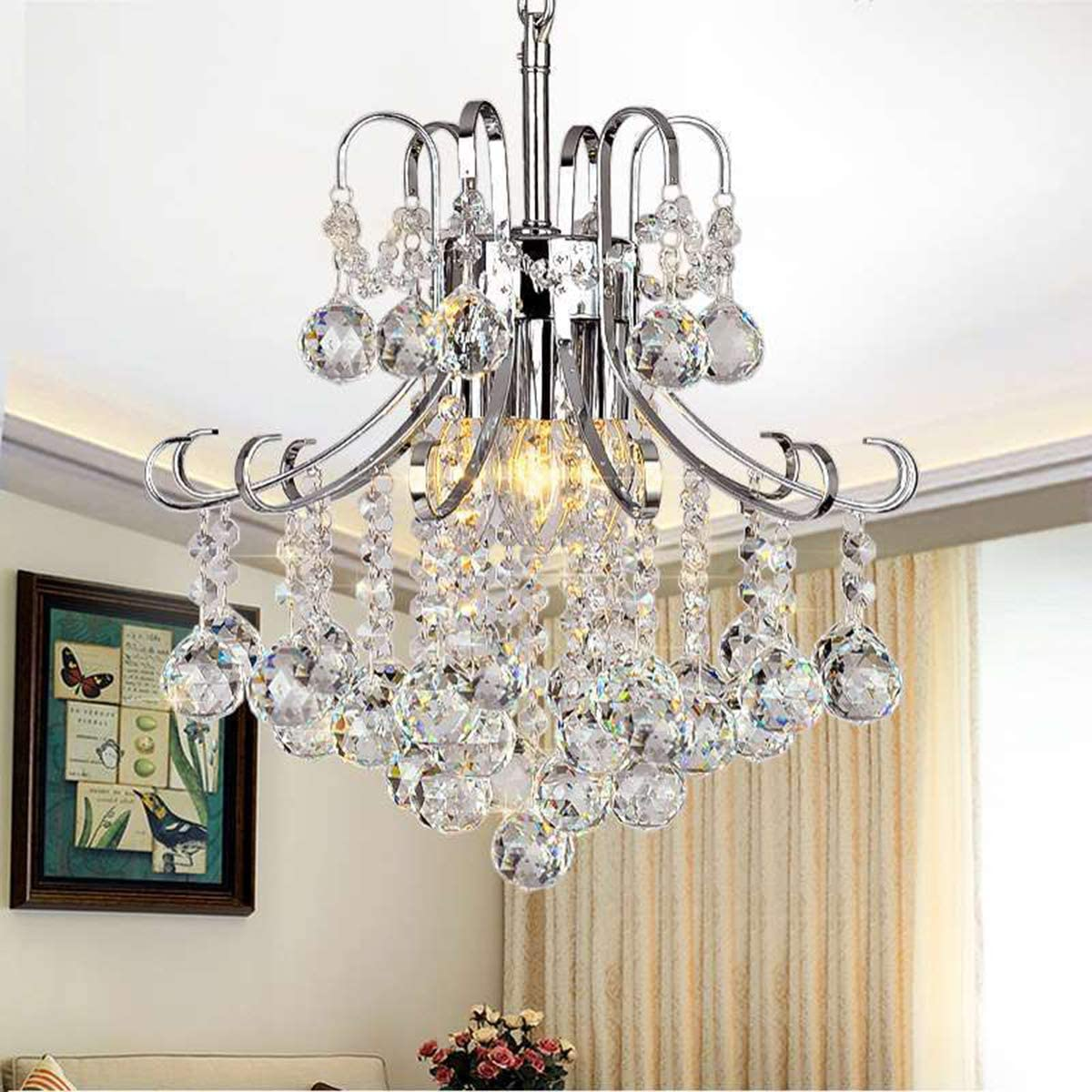 Ganeed Chandeliers,3-Light Modern Crystal Chandelier, Pendant Lighting,Flush Mount Ceiling Light Fixture for Living Room,Office,Dining Room,Bedroom,Chrome