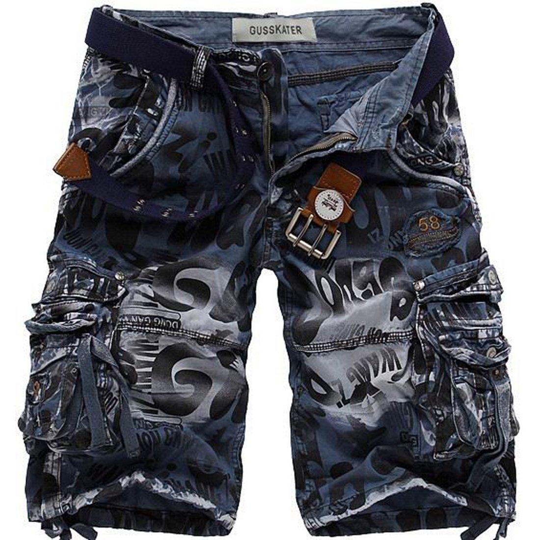 Men's Cotton Loose Fit Multi Pocket Cargo Shorts(No Belt) 31)