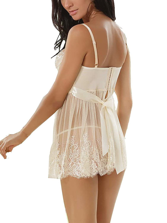 12596e626f Ruzishun Women s Sexy Lingerie White Lace Nightwear Perspective Sleepwear  Underwear at Amazon Women s Clothing store