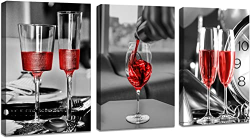 DZL Art K70234 3 Panels Wine Glass Photographic Print on Wrapped Canvas Kitchen Dining Wall Art
