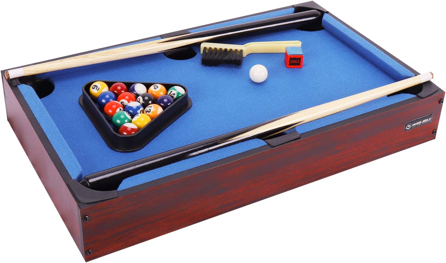 WIN.MAX Mini Pool Table, Classics 20-Inch Table Top Billiard Table, Blue, Gift for Kids