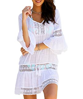 6cb68c7f2aa Sanifer Women s Summer Beach Cover Up Dresses Sexy Loose Lace Swimsuit Cove Up  Dresses