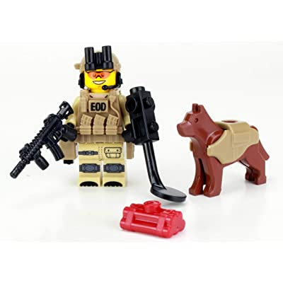 Battle Brick EOD Explosive Ordnance Disposal Specialist K9 (SKU14) Custom Minifigure: Toys & Games