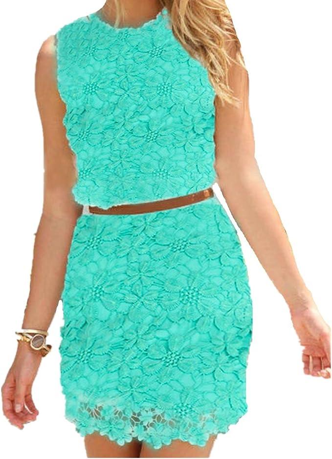 Fanessy Damen Kleid Sommer Kurz Etuikleid Spitzekleid Sommerkleid