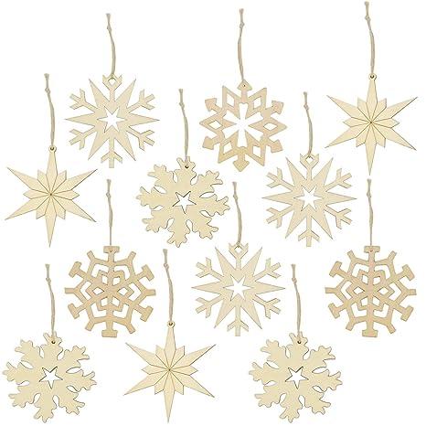 Decorazioni Natalizie Fiocchi Di Neve.Com Four 12x Decorazioni Natalizie In Legno In Vari Disegni