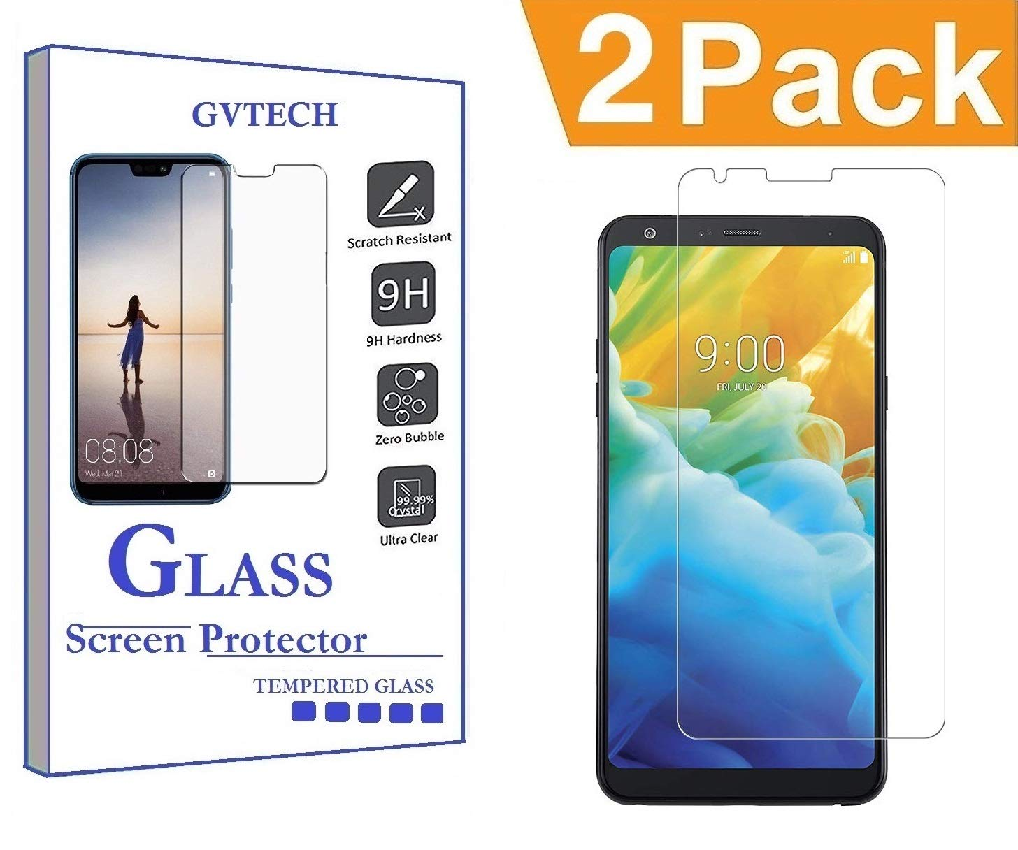 GVTECH Screen Protector LG Stylo 4 Plus, Tempered Glass Screen Protector[0.3mm, 2.5D][Bubble-Free][9H Hardness][Easy Installation][HD Clear] for LG Stylo 4 Plus(2 Pack)