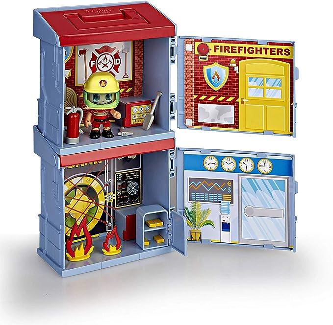 Pinypon Action- 2 Mixóplis Boxes Banco y Bombero con 1 Figura y Accesorios, niñas a Partir de 4 a 8 años, mixópolis (Famosa 700015714): Amazon.es: Juguetes y juegos
