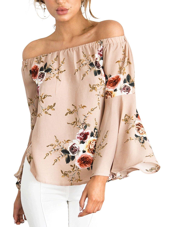 70ae986d9aefd Simplee Apparel Womens Off Shoulder Floral Print Blouse Chiffon Bardot Top  Long Sleeve Shirt  Amazon.co.uk  Clothing
