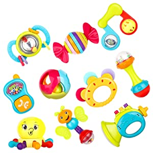 Zooawa Baby Rattles Teething Toys, 10pcs Baby Grab and Spin Handle Rattle Shaker Early Educational Ring Rattle Teether Gift Set for Infant, Newborn Baby, Toddler, Boy, Girl - Colorful