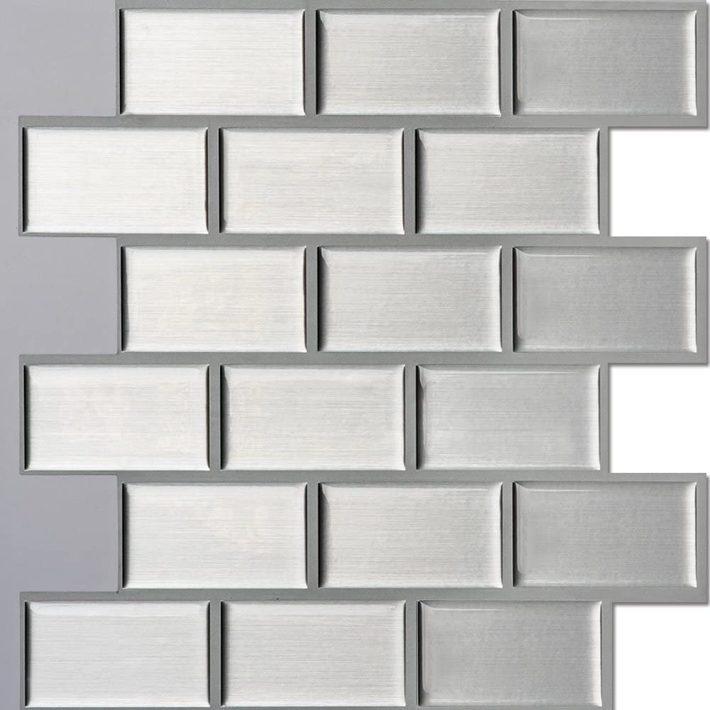 Amazon Com Ecoart Peel And Stick Self Adhesive Wall Tile For Kitchen Bathroom Backsplash In Silver Brick Style 10 X 10 Pack Of 6 Home Kitchen